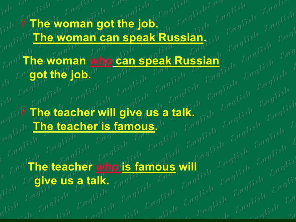The woman got the job. The woman can speak Russian.