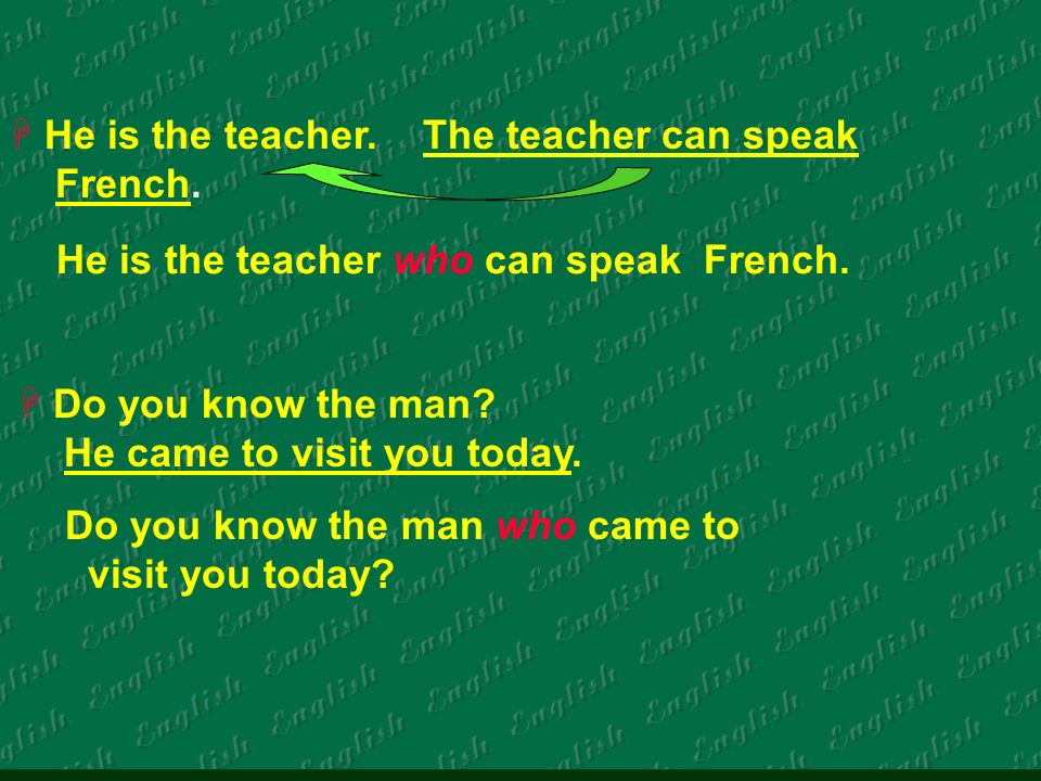 He is the teacher. The teacher can speak French. He is the teacher who can speak French.