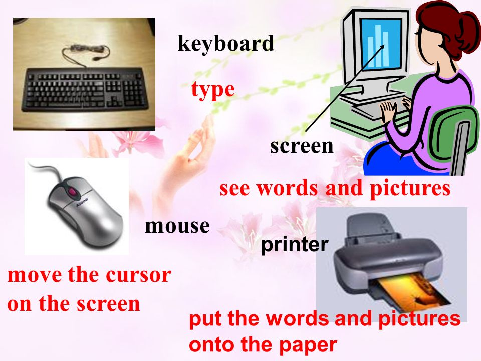 keyboard mouse type move the cursor on the screen screen see words and pictures printer put the words and pictures onto the paper