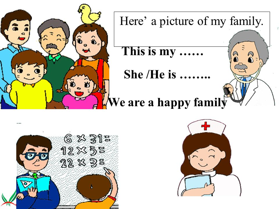Here a picture of my family. This is my …… She /He is …….. We are a happy family