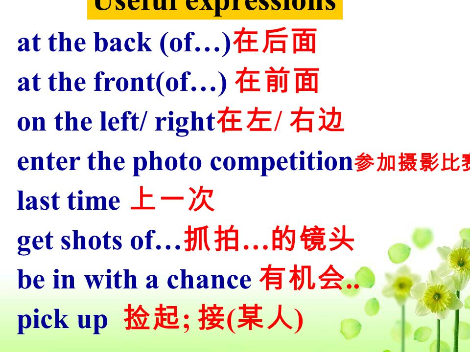 Useful expressions at the back (of…) at the front(of…) on the left/ right / enter the photo competition last time get shots of… … be in with a chance.