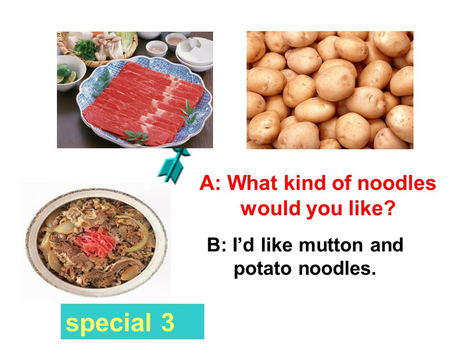 A: What kind of noodles would you like? B: Id like chicken and cabbage noodles. special 2