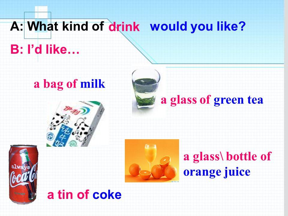 A: What kind of would you like? B: Id like some…. fruit strawberries orangesapples pears bananas