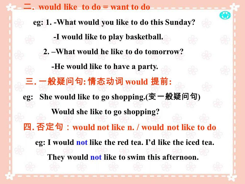 Would like Would like. would like + n. = want + n. 1. -What would you like? - Id like some apples. 2. -What kind of drink would you like? - Id like so