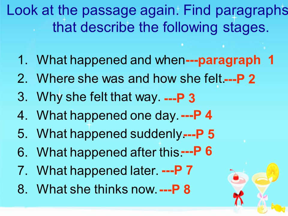 Look at the passage again. Find paragraphs that describe the following stages. 1.What happened and when 2.Where she was and how she felt. 3.Why she fe