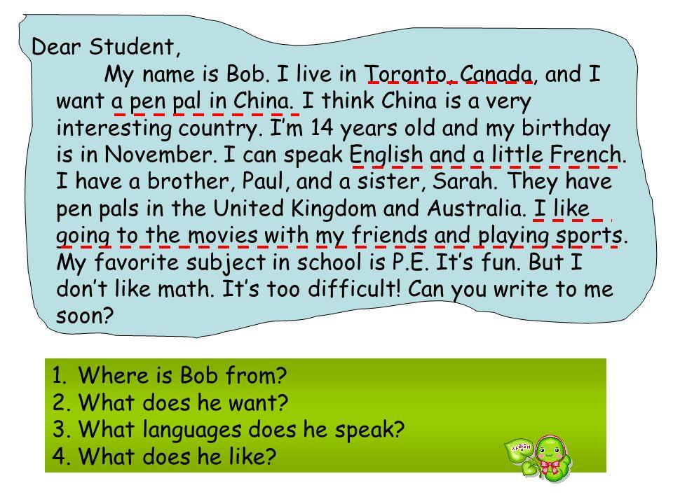 2 0 0 7 4 1 From: Simon Ottawa,Canada To: Students Jingyan Middle School, Zhuzhou,Hunan,China