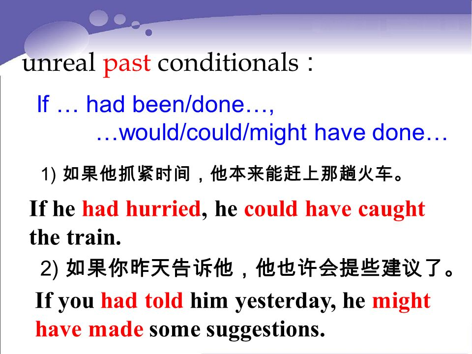 unreal past conditionals : If … had been/done…, …would/could/might have done… 1) If he had hurried, he could have caught the train.
