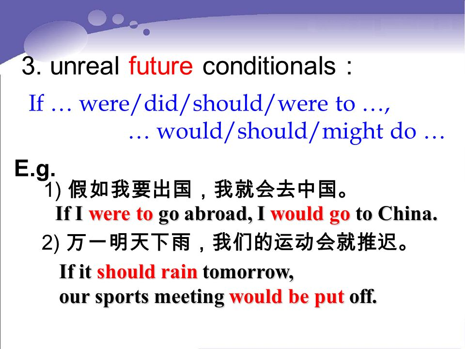 3. unreal future conditionals : If … were/did/should/were to …, … would/should/might do … E.g.