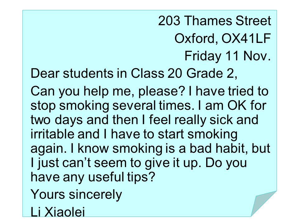 Li Xiaolei 203 Thames Street Oxford, OX41LF Class 2 Grade 2 GZ …Middle School, GZ, GD, China 518036