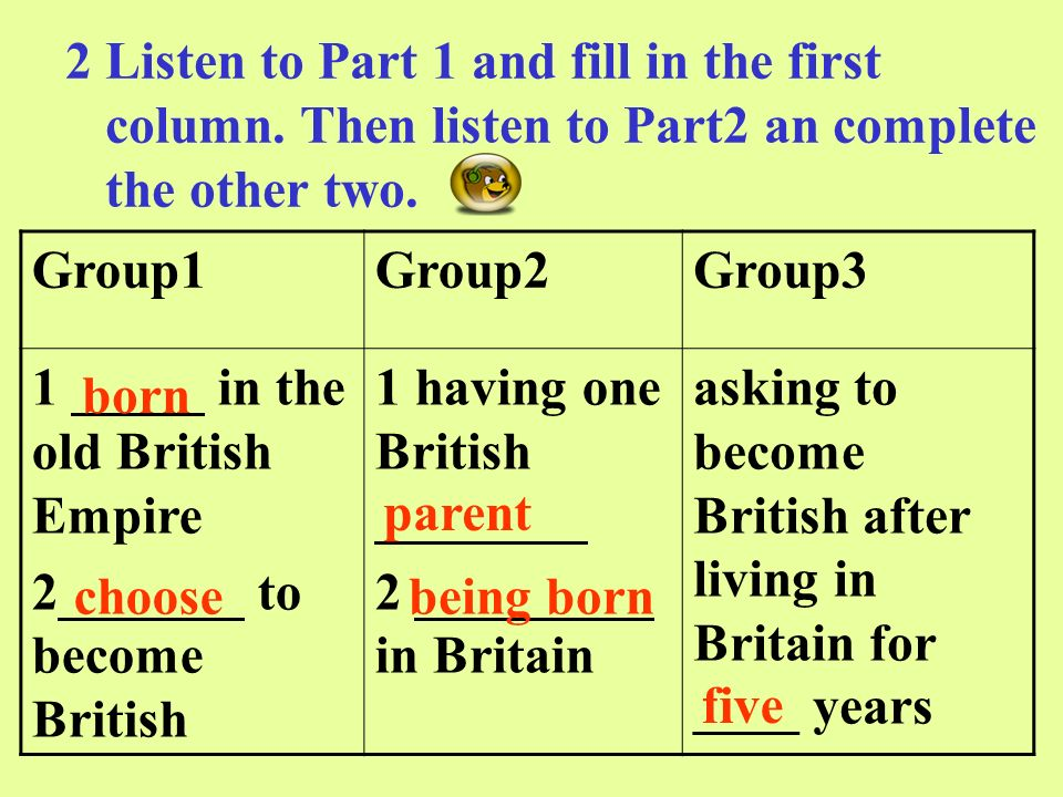 2.Tick the people who could become British.