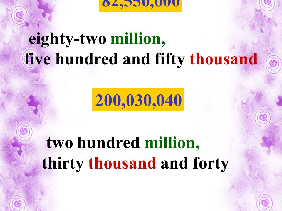 82,550,000 200,030,040 eighty-two million, five hundred and fifty thousand two hundred million, thirty thousand and forty