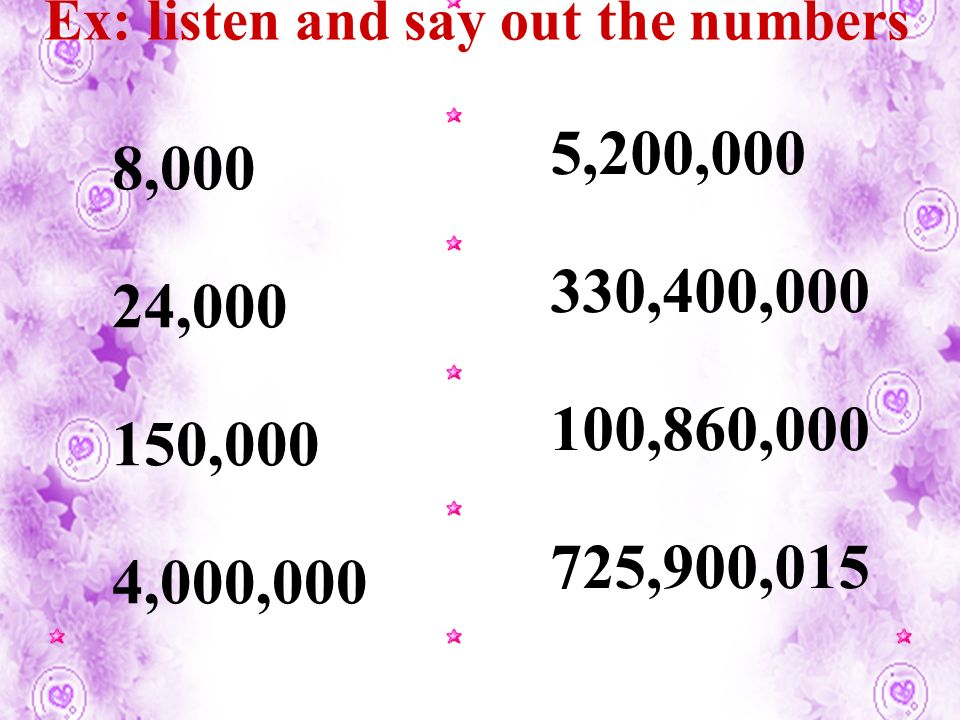 Ex: listen and say out the numbers 8,000 24,000 150,000 4,000,000 5,200,000 330,400,000 100,860,000 725,900,015
