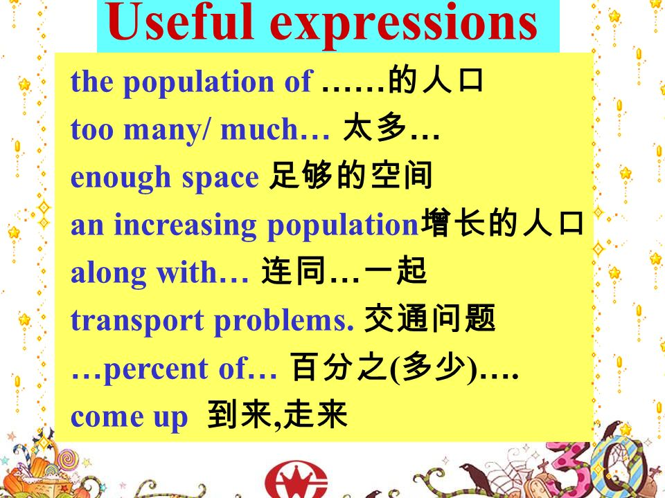 Useful expressions the population of …… too many/ much … … enough space an increasing population along with … … transport problems.