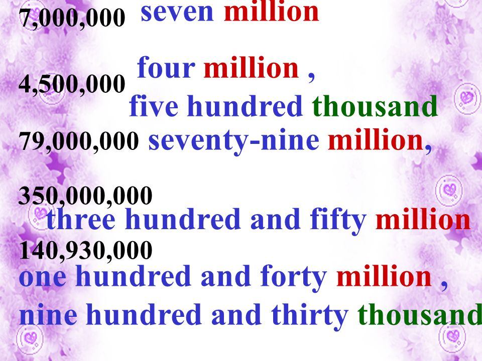 7,000,000 4,500,000 79,000,000 350,000,000 140,930,000 seven million four million, five hundred thousand seventy-nine million, three hundred and fifty million one hundred and forty million, nine hundred and thirty thousand