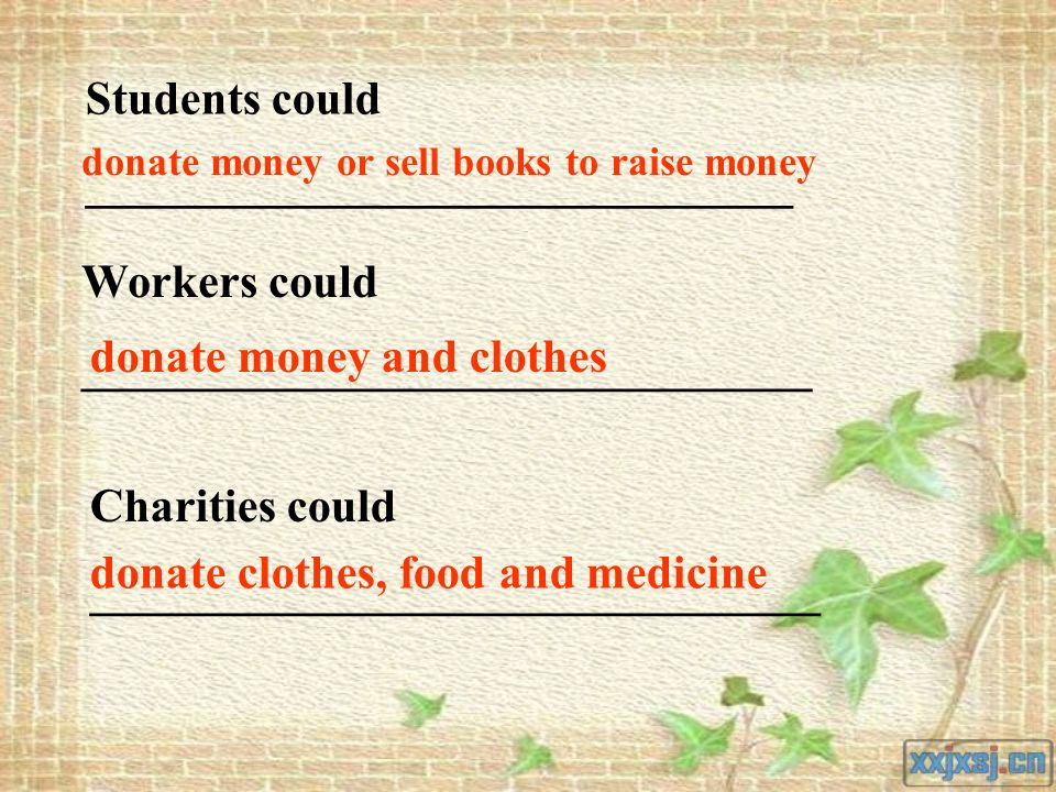 Students could ______________________________ Workers could _______________________________ Charities could _______________________________ donate money or sell books to raise money donate money and clothes donate clothes, food and medicine