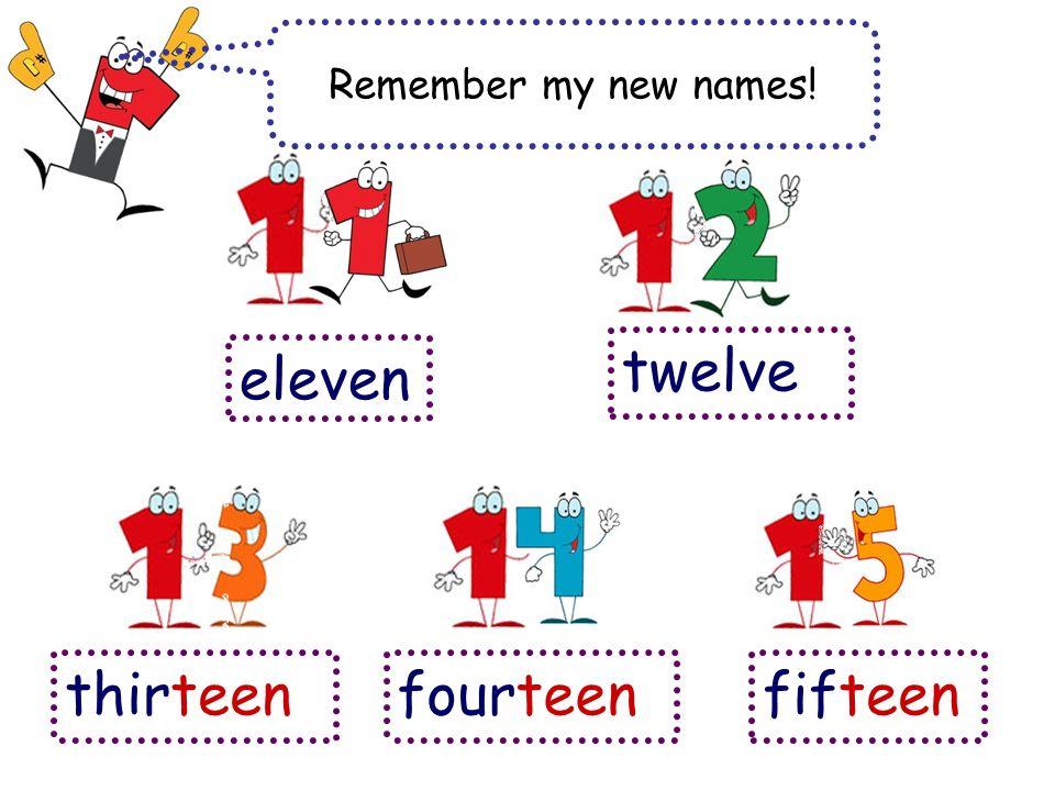 Remember my new names! eleven twelve thirteenfourteenfifteen