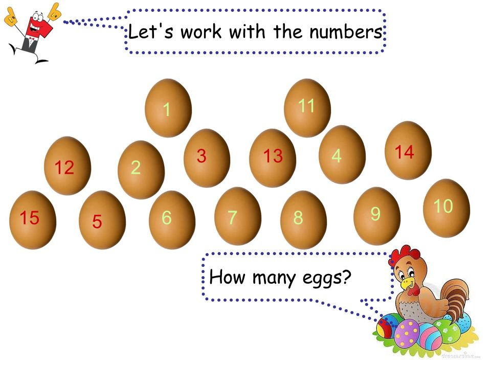 Let s work with the numbers How many eggs 1 2 34 5 7 10 9 68 11 12 15 14 13