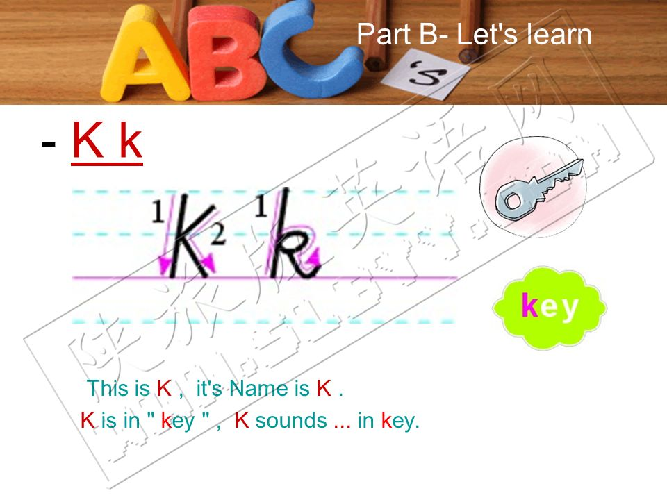 Part B- Let s learn This is K, it s Name is K. K is in key , K sounds... in key. - K k