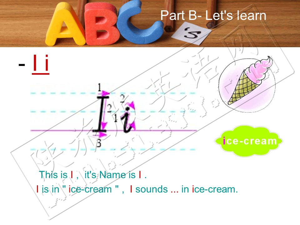Part B- Let s learn This is I, it s Name is I. I is in ice-cream , I sounds...