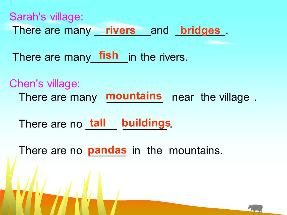 Sarah s village: There are many _________and ________.