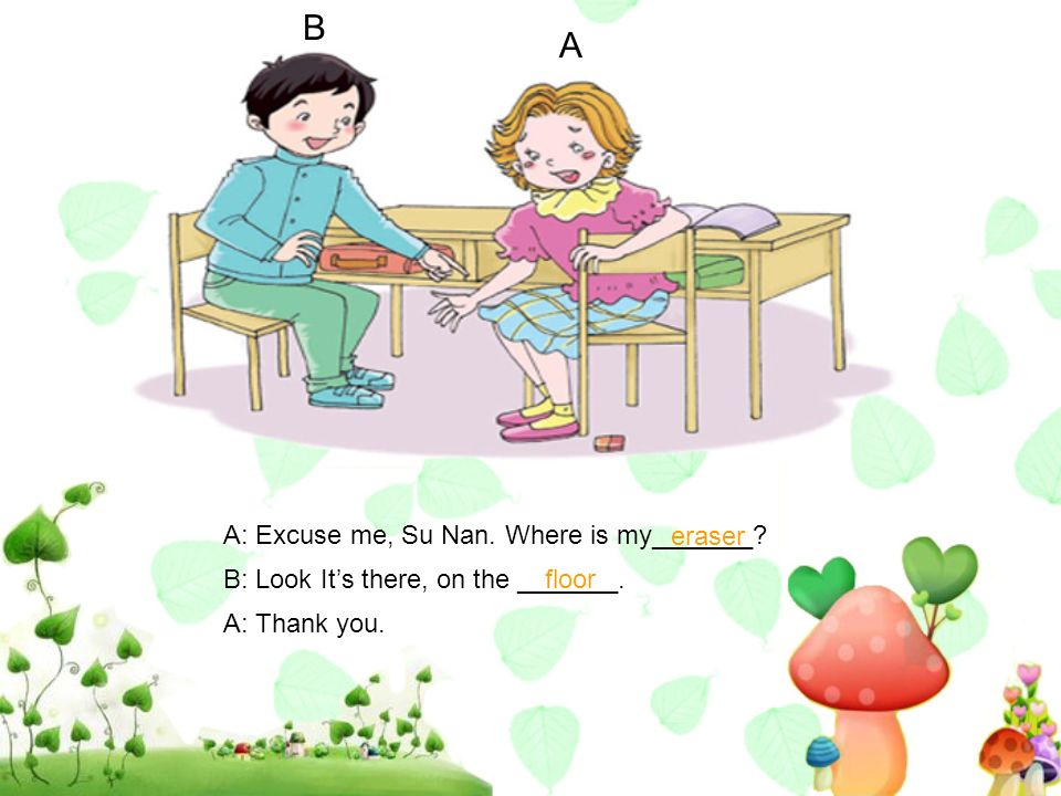 A B A: Excuse me, Su Nan. Where is my_______? B: Look Its there, on the _______. A: Thank you. eraser floor
