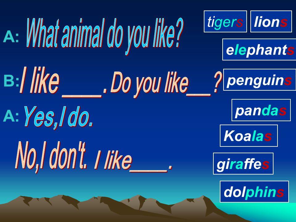 penguin panda giraffe lion