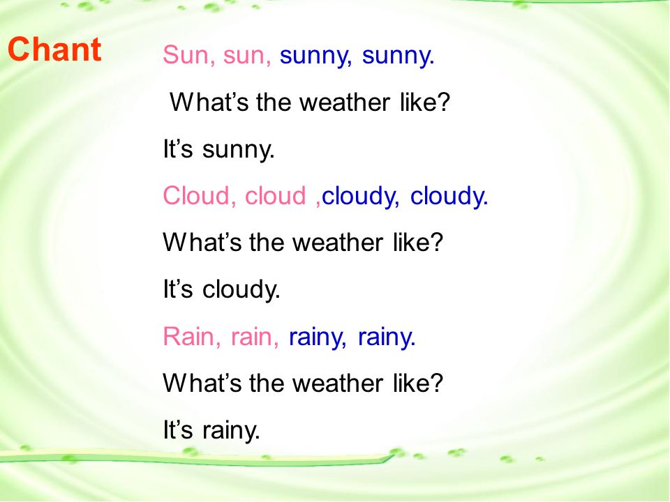Sun, sun, sunny, sunny. Whats the weather like. Its sunny.