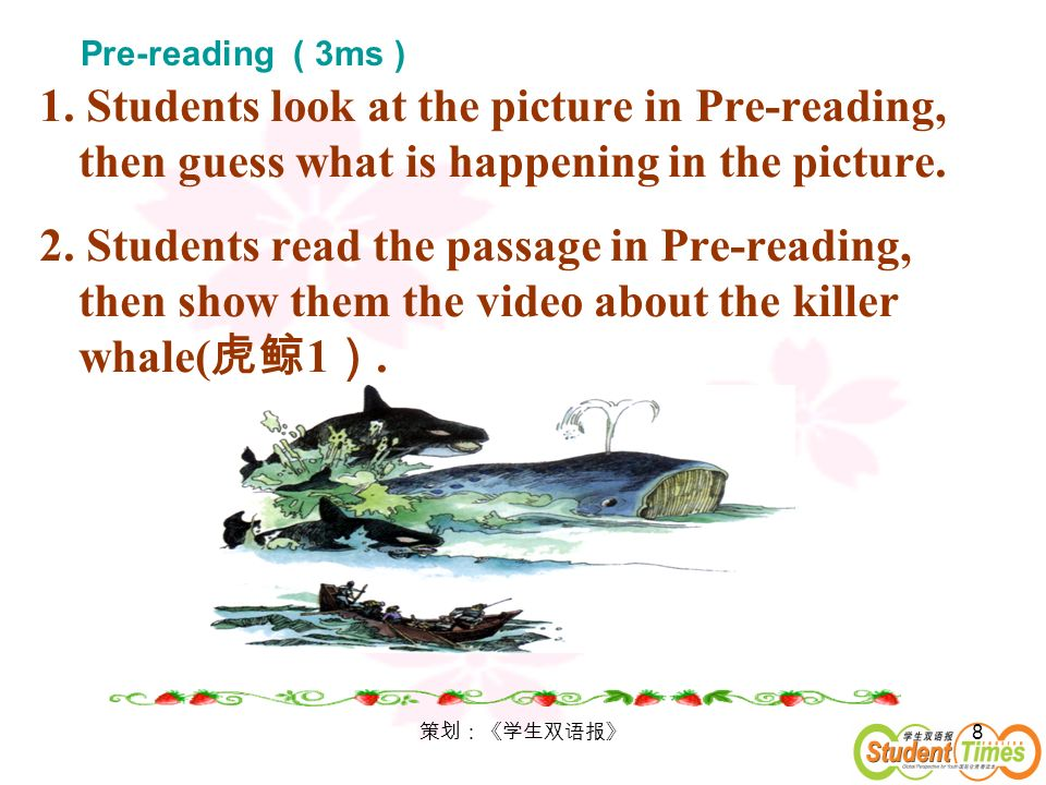 8 1. Students look at the picture in Pre-reading, then guess what is happening in the picture. 2. Students read the passage in Pre-reading, then show