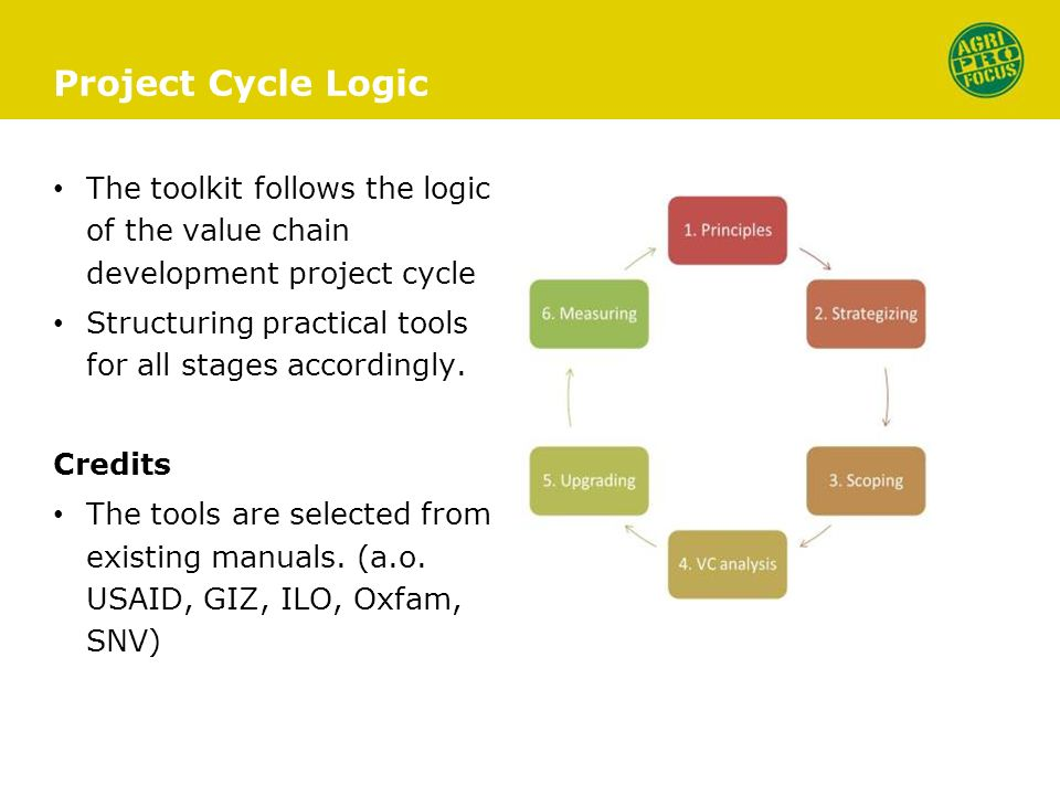 Project Cycle Logic The toolkit follows the logic of the value chain development project cycle Structuring practical tools for all stages accordingly.