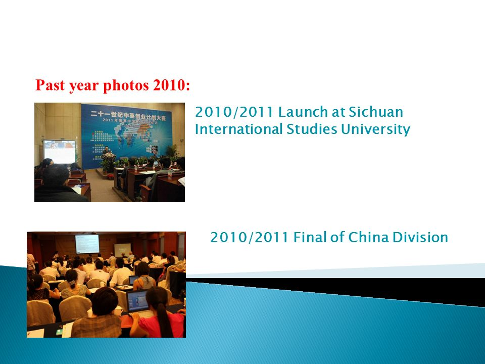 Past year photos 2010: 2010/2011 Launch at Sichuan International Studies University 2010/2011 Final of China Division