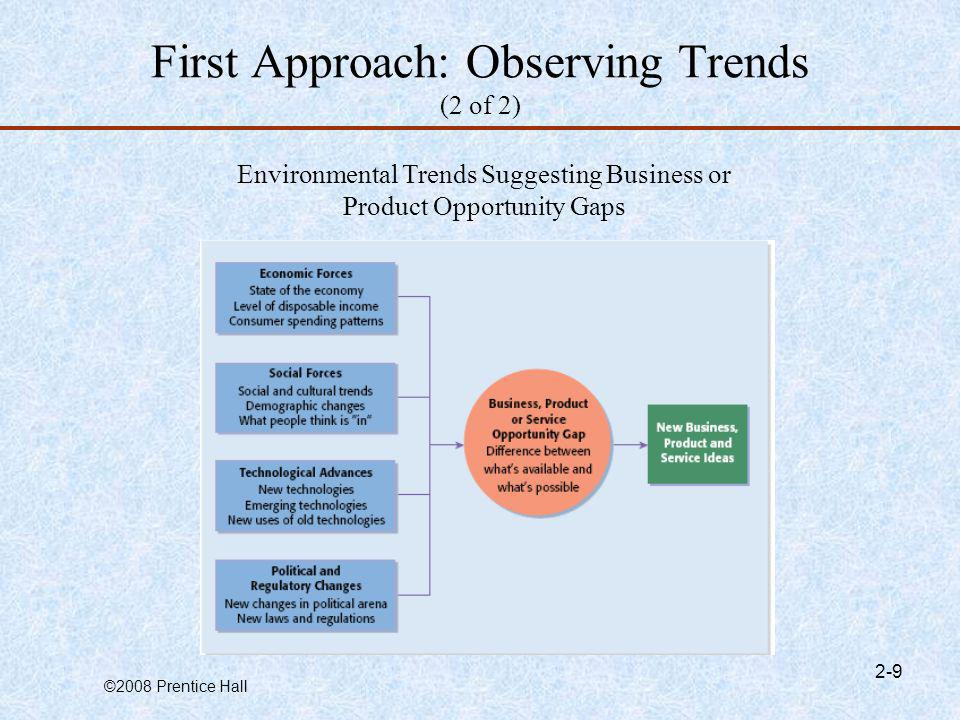 ©2008 Prentice Hall 2-9 First Approach: Observing Trends (2 of 2) Environmental Trends Suggesting Business or Product Opportunity Gaps