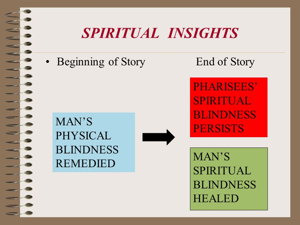 SPIRITUAL INSIGHTS Beginning of Story End of Story MANS PHYSICAL BLINDNESS REMEDIED PHARISEES SPIRITUAL BLINDNESS PERSISTS MANS SPIRITUAL BLINDNESS HE