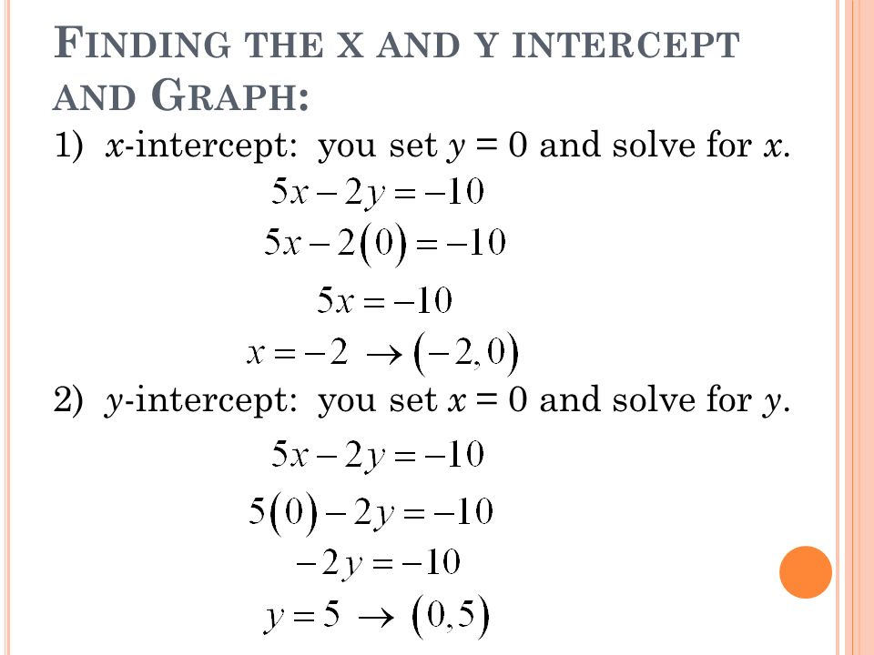 F INDING THE X AND Y INTERCEPT AND G RAPH : 1) x -intercept: you set y = 0 and solve for x. 2) y -intercept: you set x = 0 and solve for y.