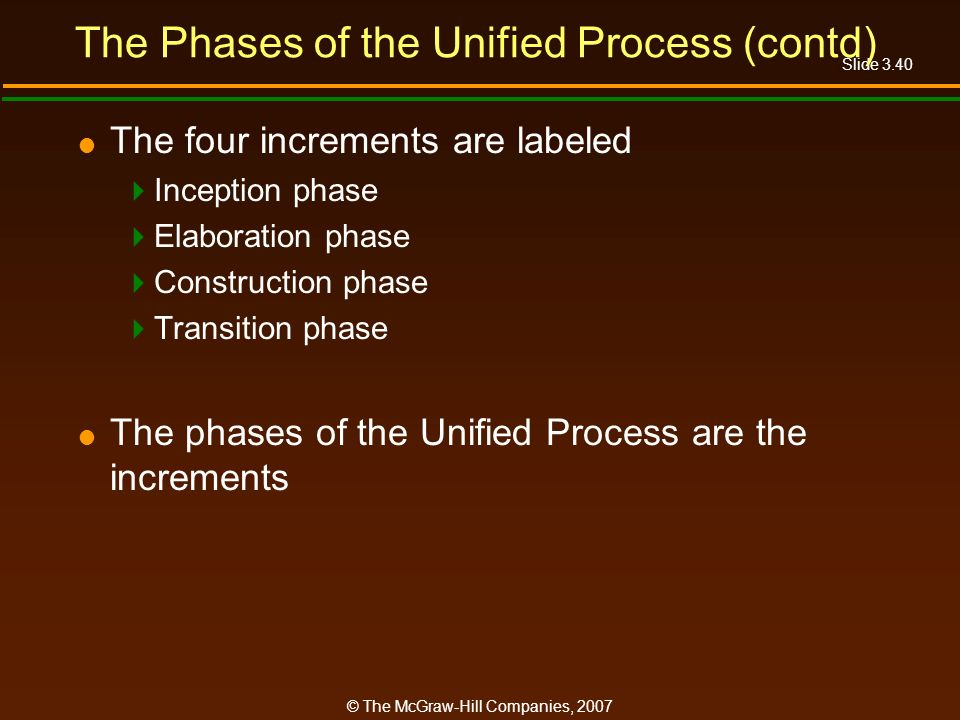 Slide 3.40 © The McGraw-Hill Companies, 2007 The Phases of the Unified Process (contd) The four increments are labeled Inception phase Elaboration pha