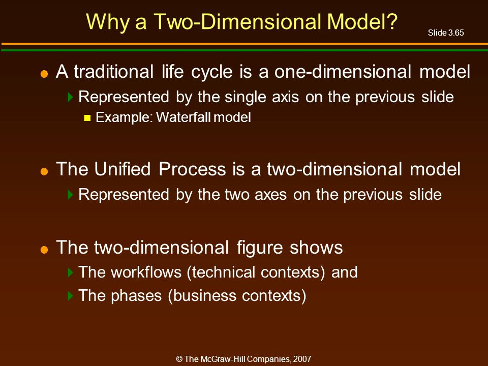 Slide 3.65 © The McGraw-Hill Companies, 2007 Why a Two-Dimensional Model? A traditional life cycle is a one-dimensional model Represented by the singl