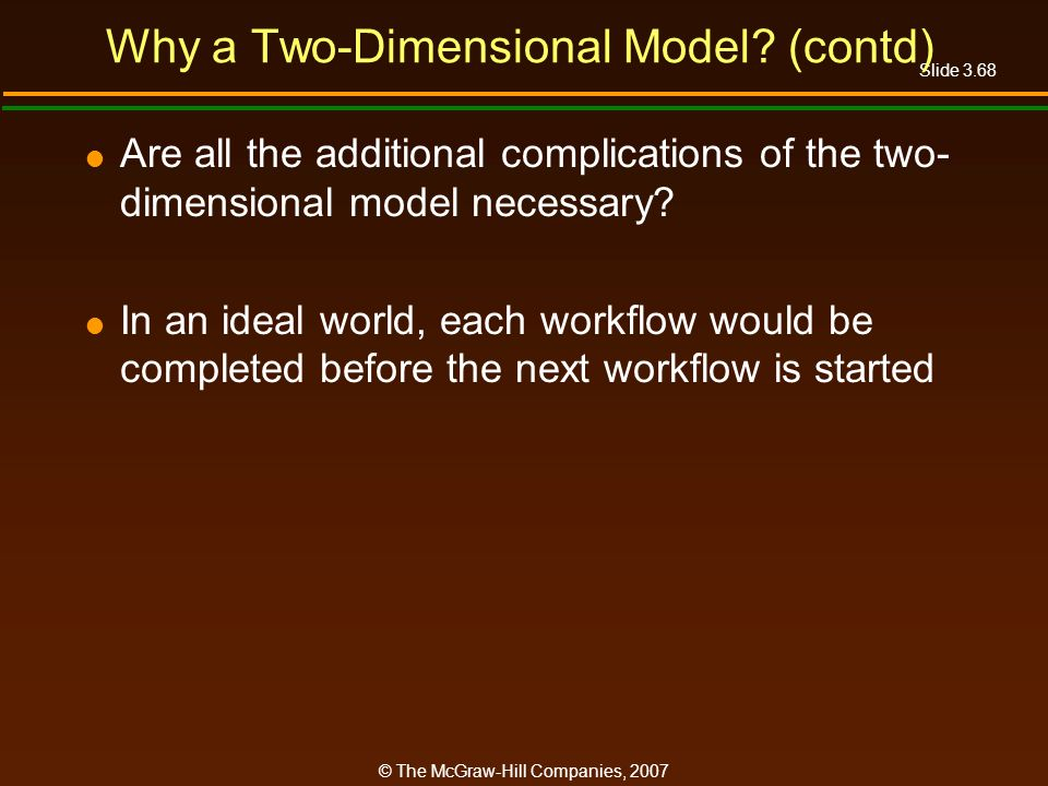 Slide 3.68 © The McGraw-Hill Companies, 2007 Why a Two-Dimensional Model? (contd) Are all the additional complications of the two- dimensional model n