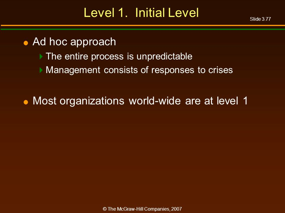 Slide 3.77 © The McGraw-Hill Companies, 2007 Level 1. Initial Level Ad hoc approach The entire process is unpredictable Management consists of respons