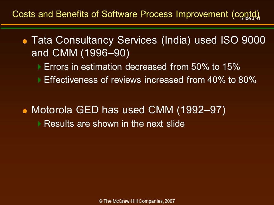 Slide 3.91 © The McGraw-Hill Companies, 2007 Costs and Benefits of Software Process Improvement (contd) Tata Consultancy Services (India) used ISO 900