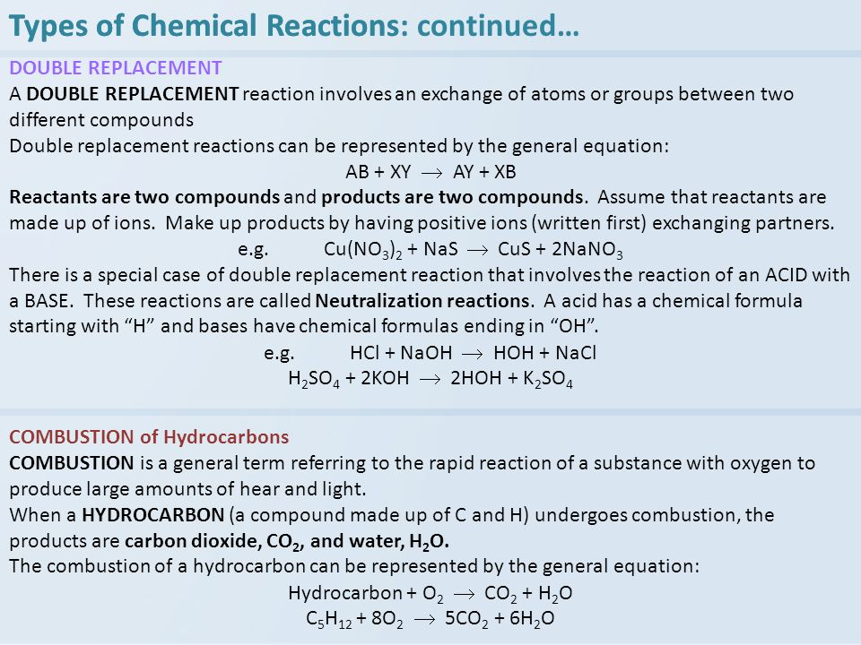 DOUBLE REPLACEMENT A DOUBLE REPLACEMENT reaction involves an exchange of atoms or groups between two different compounds Double replacement reactions can be represented by the general equation: AB + XY AY + XB Reactants are two compounds and products are two compounds.