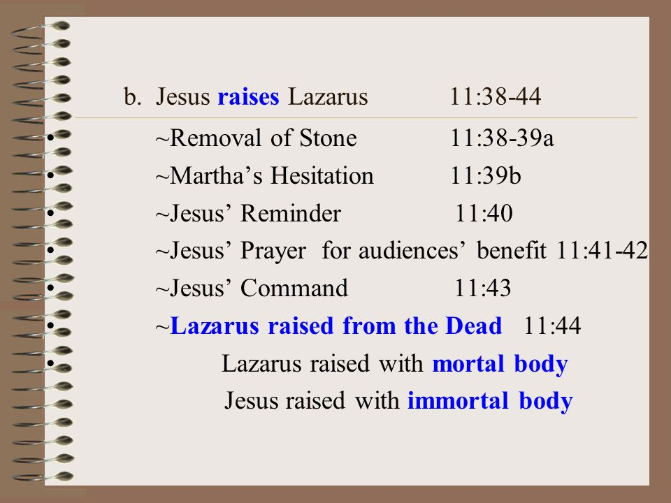 b. Jesus raises Lazarus 11:38-44 ~Removal of Stone 11:38-39a ~Marthas Hesitation 11:39b ~Jesus Reminder 11:40 ~Jesus Prayer for audiences benefit 11:4