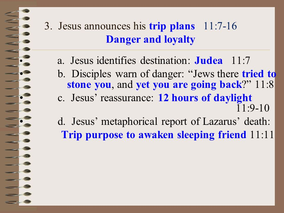 3.Jesus announces his trip plans 11:7-16 Danger and loyalty a.