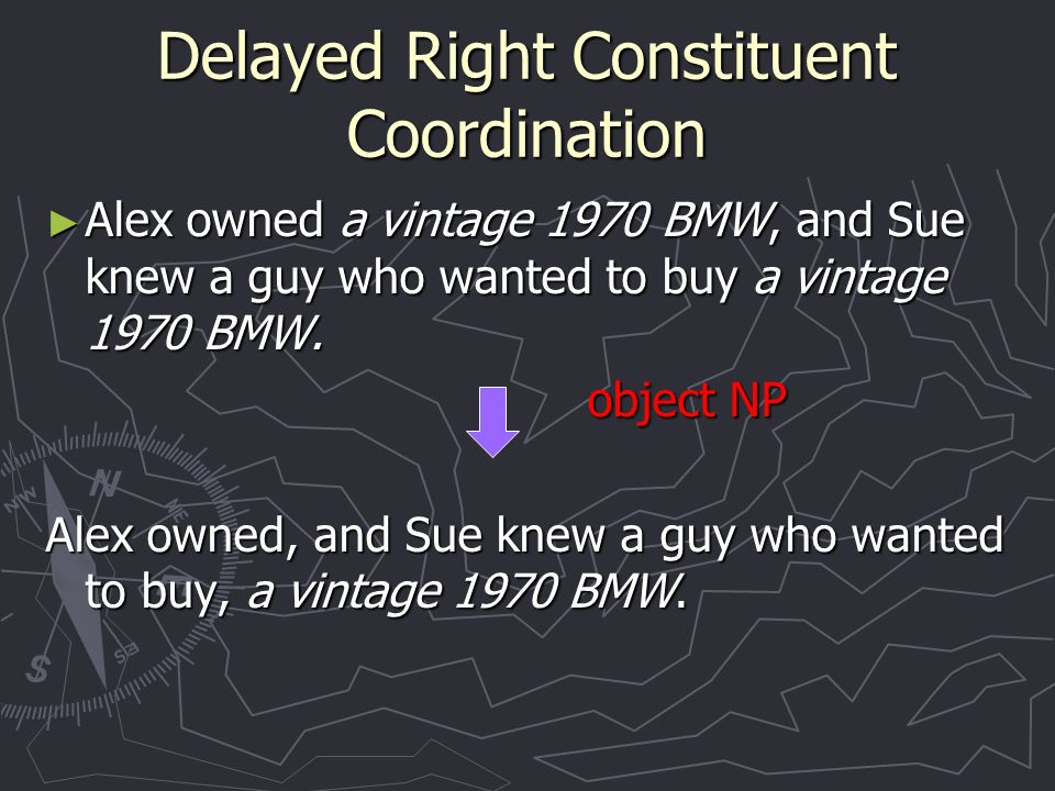 Delayed Right Constituent Coordination Alex owned a vintage 1970 BMW, and Sue knew a guy who wanted to buy a vintage 1970 BMW.