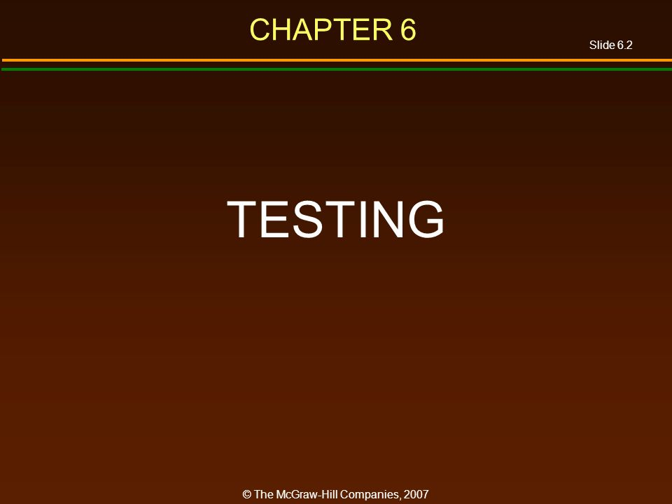 Slide 6.2 © The McGraw-Hill Companies, 2007 CHAPTER 6 TESTING