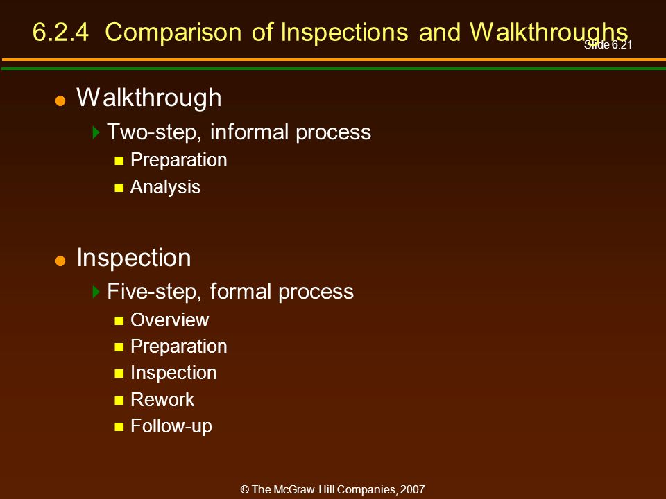 Slide 6.21 © The McGraw-Hill Companies, 2007 6.2.4 Comparison of Inspections and Walkthroughs Walkthrough Two-step, informal process Preparation Analy