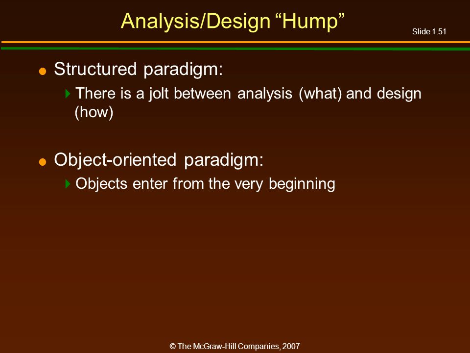 Slide 1.51 © The McGraw-Hill Companies, 2007 Analysis/Design Hump Structured paradigm: There is a jolt between analysis (what) and design (how) Object