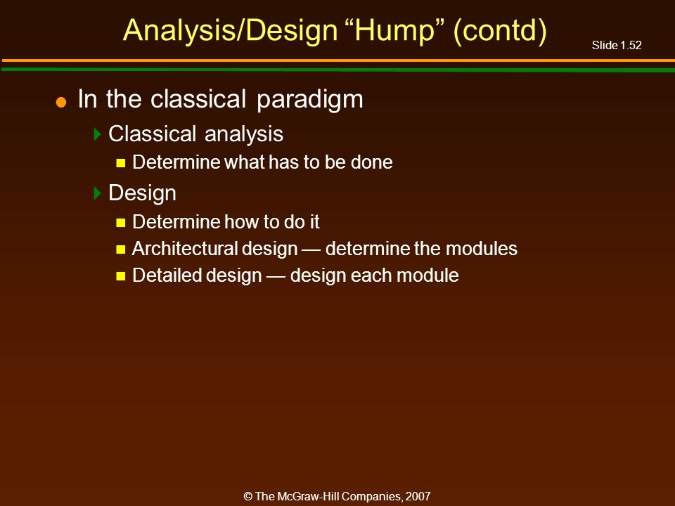 Slide 1.52 © The McGraw-Hill Companies, 2007 Analysis/Design Hump (contd) In the classical paradigm Classical analysis Determine what has to be done D