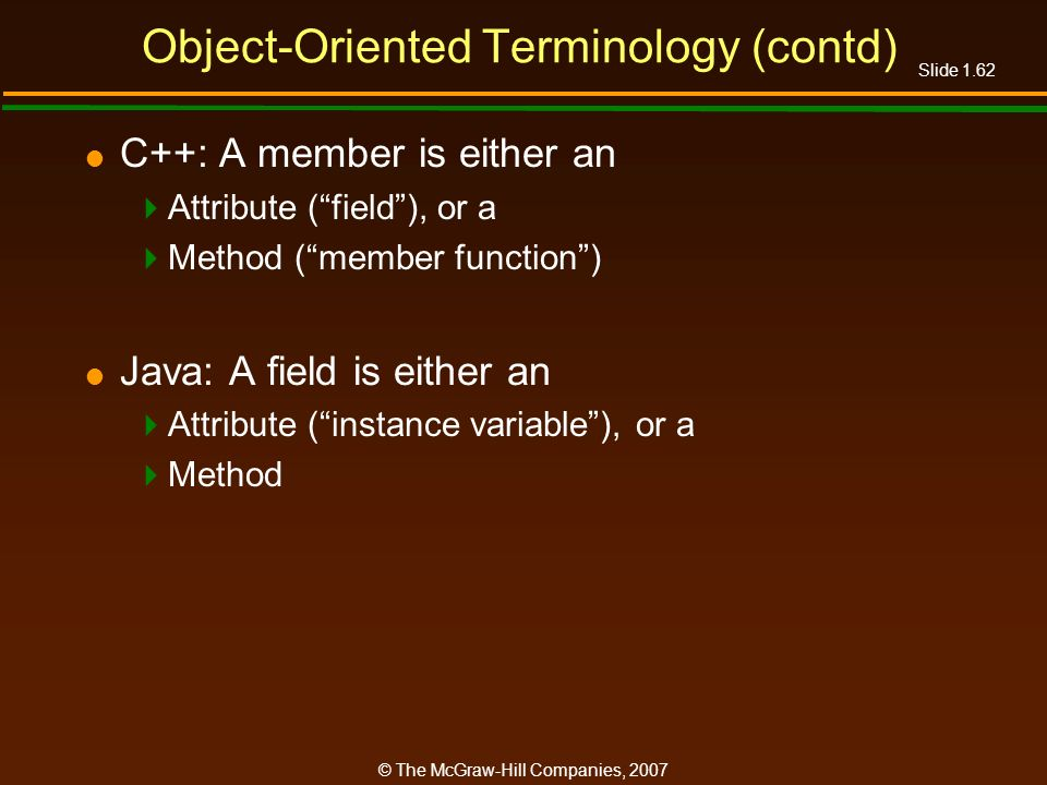 Slide 1.62 © The McGraw-Hill Companies, 2007 Object-Oriented Terminology (contd) C++: A member is either an Attribute (field), or a Method (member fun