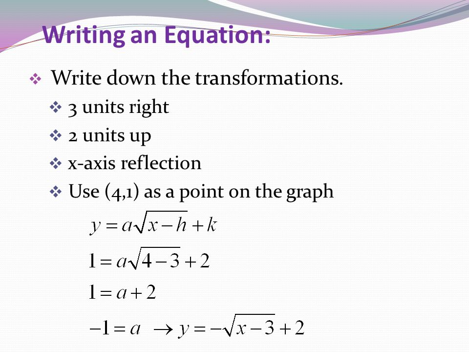 Writing an Equation: Write down the transformations. 3 units right 2 units up x-axis reflection Use (4,1) as a point on the graph
