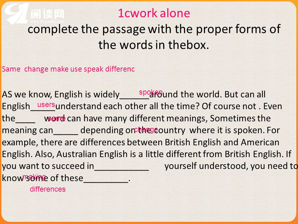 1cwork alone complete the passage with the proper forms of the words in thebox. Same change make use speak differenc AS we know, English is widely____