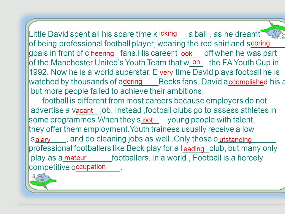 summary Dose the writer think football is a good career choice .